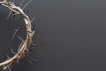 Close Up Crown Of Thorns On Black Background