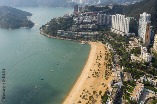 Fotografie, Obraz Aerial view of the famous Repulse Bay beach in Hong kong island by the south China Sea in Hongkong