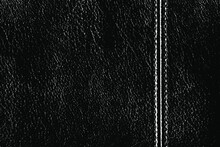 Texture Of Genuine Black Leather With A Seam On The Left Side. Abstract Monochrome Background. A Simple Background Of Natural Leather. Vector Illustration. Overlay Template