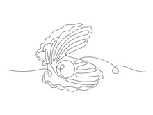 Continuous One Line Drawing Natural Open Pearl Shell Close Up. Modern Minimalist Ison Or Logo In Black And White Colors. Vector Illustration
