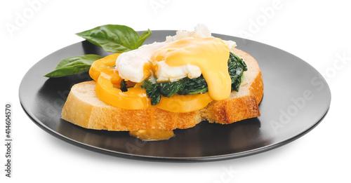 Fotografie, Obraz Plate of tasty sandwich with florentine egg on white background