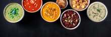 Vegan Soup Panoramic Banner With Copy Space. Vegetable Cream Soups, Shot From Above On A Black Background
