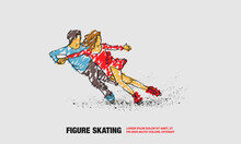 Professional Pair Figure Skating Sport. Vector Outline Of Figure Skating Sport With Scribble Doodles Style Drawing.