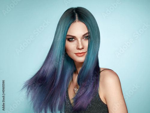 Obraz Beauty Fashion Model Girl with Colorful Dyed Hair. Girl with Perfect Makeup and Hairstyle. Model with Perfect Healthy Dyed Hair - fototapety do salonu