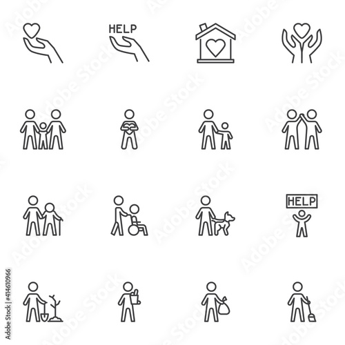Fotografie, Obraz Volunteering and charity line icons set, outline vector symbol collection, linear style pictogram pack