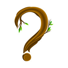 Question Mark Arranged From Woody Forest Tree Trunk As Typography Symbol Vector Illustration
