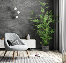 Gray Armchair Over Black Wall, Interior Of Modern Living Room, Home Design 3d Rendering