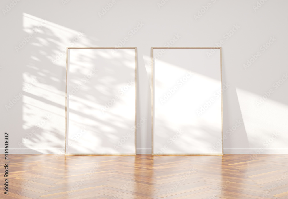 Fototapeta Wooden frame leaning in bright white interior with wooden floor mockup 3D rendering