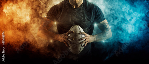 Foto Man rugby player. Sports banner