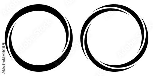 Fotografija Round circular banner frames, borders, vector hand drawn, circular markers highl