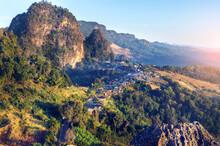 Aerial View Of Ban Jabo Viewpoint, Mae Hong Son Province, Thailand