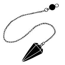 Magic Pendulum Made Of Stone For Fortune Telling And Fortune Telling. Vector Hand Illustration.