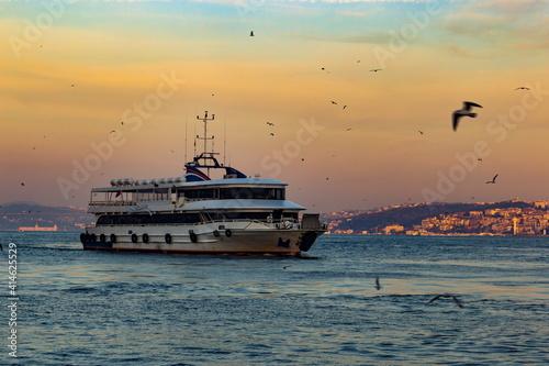 Fototapeta Cruise ferries in Bosphorus between european and asian coasts of Istanbul