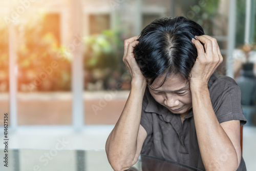 Fototapeta Dementia, Alzheimer's disease elderly senior patient (old aged women) with depression, mental stress illness, memory loss, schizophrenia, or cervical vertigo symptom obraz