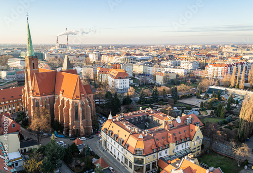 Fototapeta Poland, Wroclaw - December 2019: Top view from the observation deck of the Cathe