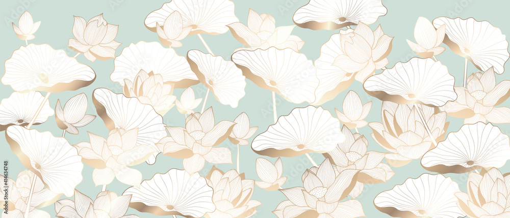 Fototapeta Luxury Golden lotus background vector. Gold Lotus line arts design for wallpaper, wall arts, fabric, prints and background texture, Vector illustration.