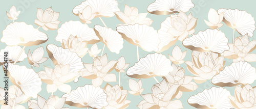 Fototapeta Luxury Golden lotus background vector. Gold Lotus line arts design for wallpaper, wall arts, fabric, prints and background texture, Vector illustration. obraz