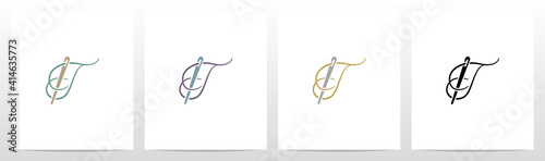 Photo Thread And Needle Formed Letter Logo Design T