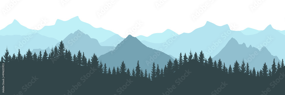 Fototapeta Beautiful forest on background of mountains, blue color. Silhouette of fir trees. Vector illustration.