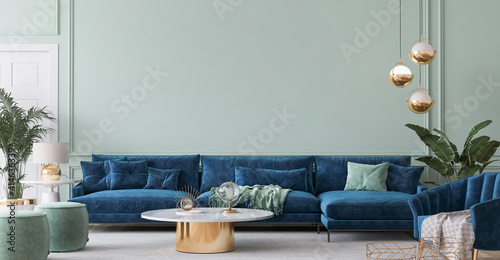 Obraz Home interior mockup with blue sofa, marble table and tiffany blue wall decor in living room, 3d render - fototapety do salonu