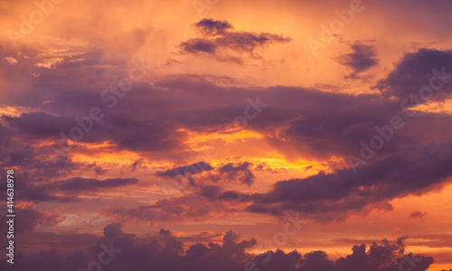 Colorful cloudy tropical sky at sunset, natural background © evannovostro