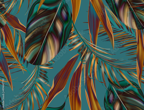 Fototapeta Colourful Seamless Pattern with tropic flowers and leaves. obraz