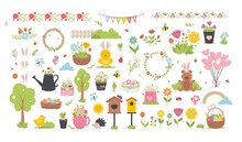 Easter Spring Set With Cute Animals, Birds, Bees, Butterflies.