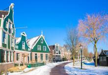 Winter Dutch Village. Vintage Beautiful Dutch Houses