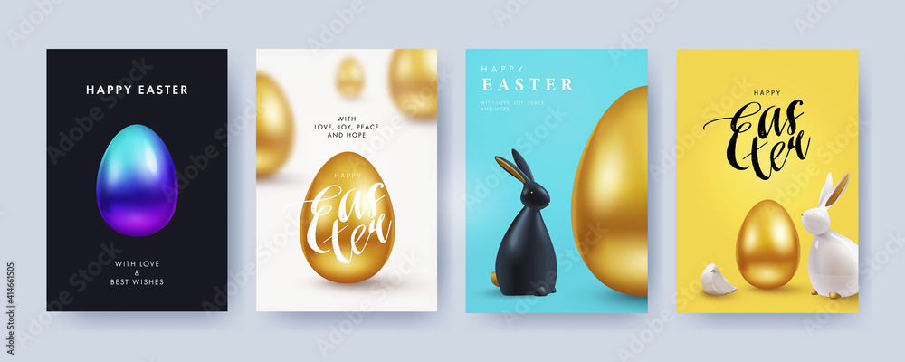 Fototapeta Easter Set of greeting cards, holiday covers, posters, flyers design in 3d realistic style with golden egg and black and white rabbit. Modern minimal design for social media, sale, advertisement, web
