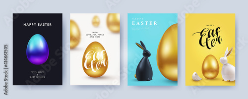Fototapeta Easter Set of greeting cards, holiday covers, posters, flyers design in 3d realistic style with golden egg and black and white rabbit. Modern minimal design for social media, sale, advertisement, web obraz