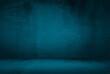 canvas print picture - dark blue grunge interior