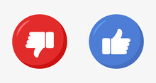 Like And Dislike Icons, Thumb Up And Thump Down Buttons