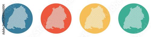 Bunter Banner mit 4 Buttons: Bundesland Baden-Wuerttemberg Fotobehang