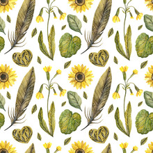 Watercolor Pattern In Yellow Tones. Summer Flowers. Sunflower, Primrose, Feathers, Hearts, Leaves. Isolated On A White Background. The Design For The Scrapbooking, Fabric, Clothes, Textile And Other.