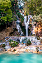 Kwang Si Main Waterfall As You Reach The Final Tier Of Turquoise Pools And Streams