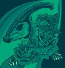 Dinosaurus Parasaurolophus Head With Flower Vector Illustration Design