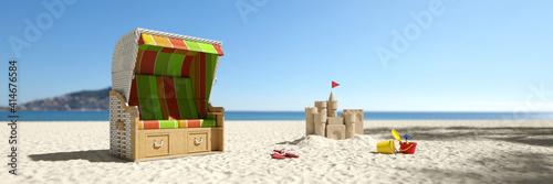 Fototapeta Leerer Strandkorb am Strand der Ostsee in Deutschland obraz