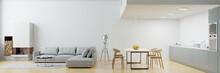 Wohnküche Mit Kamin Und Sofa Im Modernen Loft