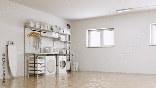 Fototapeta Wasserschaden im Waschkeller nach Rohrbruch obraz