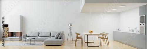 Fototapeta Wohnküche mit Kamin und Sofa im modernen Loft obraz