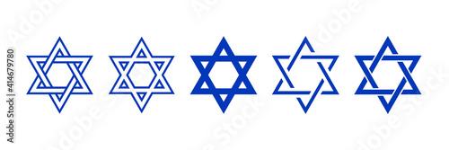 Fototapeta Star of David symbol. Jewish Israeli religious symbol. Judaism sign. Vector illustration obraz