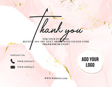 Thank You Card Watercolor Pink Gold, Customer Service Women Business Card , Promotion Voucher , Post Purchase Insert. Elegant Greeting  Template, Printable Custom Small Business Card