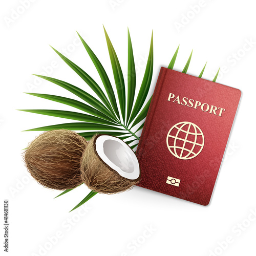 3D realistic vector Illustration. Travel banner, passport with coconuts and a palm branch. Isolated on White Background.