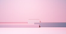 Podium In Abstract Pink Composition, 3d Render, 3d Illustration,  Mock Up For Product Review.