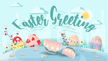 Easter Greeting Large Inscription Easter Eggs In The Grass And Broken Shell Flat Vector Illustration Banner For Holiday Design Decoration