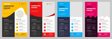 Corporate Business Flyer Template Design Set With Blue, Magenta, Red And Yellow Color. Marketing, Business Proposal, Promotion, Advertise, Publication, Cover Page.