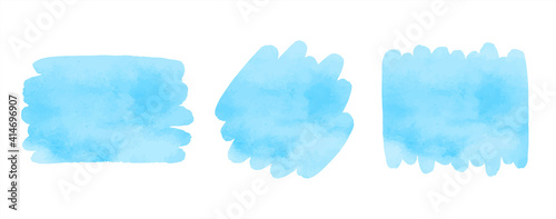 Fototapeta Sky blue watercolor vector brush strokes set. Artistic rectangle, uneven circle shapes with stains. Painted texture, text frame. Water, marine background, template for banners, posters, lettering. obraz