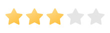 Rating Sticker Icon With Three Gold Stars On A White Background. Flat Design. White Background. Isolated Vector Icon. Vector Gold Background. Vector Graphics.