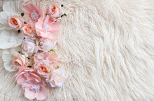 Newborn Digital Background With Pink Flowers And Fir Backdrop
