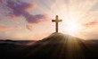 Leinwandbild Motiv Christian cross on hill outdoors at sunrise. Resurrection of Jesus